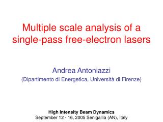 Multiple scale analysis of a single-pass free-electron lasers