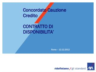 Concordato Cauzione Credito CONTRATTO DI DISPONIBILITA'
