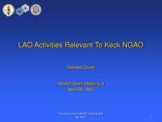 LAO Activities Relevant To Keck NGAO