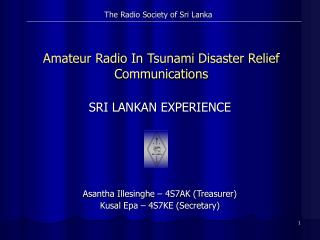 Amateur Radio In Tsunami Disaster Relief Communications