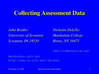 Collecting Assessment Data