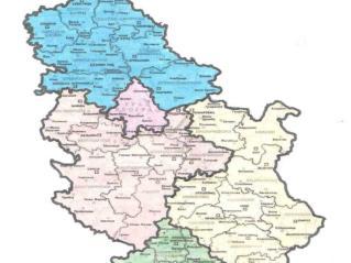 Mapa teritorija nadleznosti  RLK u Srbiji