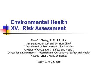 Environmental Health  XV.  Risk Assessment
