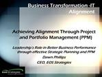 Business Transformation -IT Alignment