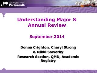 Understanding Major & Annual Review September 2014