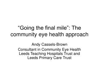 """Going the final mile"": The community eye health approach"