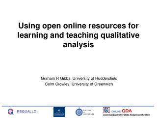 Using open online resources for learning and teaching qualitative analysis