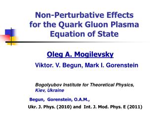 Non-Perturbative Effects   for the Quark Gluon Plasma  Equation of State