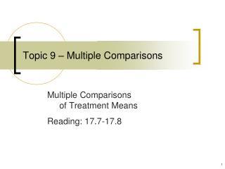 Topic 9   Multiple Comparisons