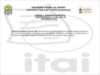 NUMERAL 3: REMUNERACION MENSUAL CORRESPONDIENTE A LA  2 D A  . QNA. DE SEPTIEMBRE  DE 2012.