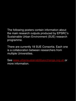 SUSTAINABLE URBAN ENVIRONMENT RESEARCH PROGRAMME