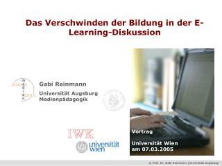 Gabi Reinmann Universität Augsburg Medienpädagogik
