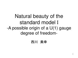 Natural beauty of the standard model  I -A possible origin of a U(1) gauge degree of freedom-