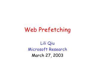 Web Prefetching