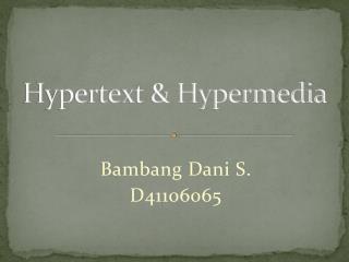 Hypertext & Hypermedia