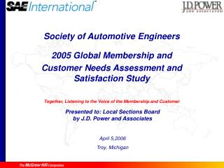 Society of Automotive Engineers 2005 Global Membership and