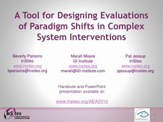 A Tool for Designing Evaluations  of Paradigm Shifts in Complex  System Interventions