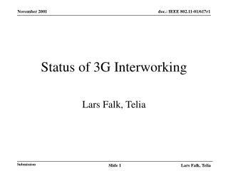 Status of 3G Interworking