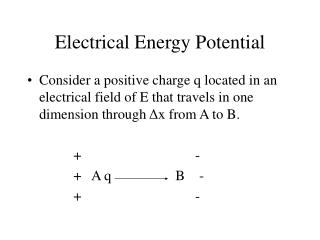 Electrical Energy Potential