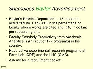Shameless  Baylor  Advertisement