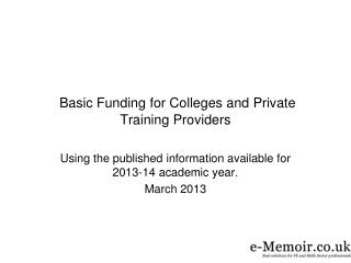 Basic Funding for Colleges and Private Training Providers