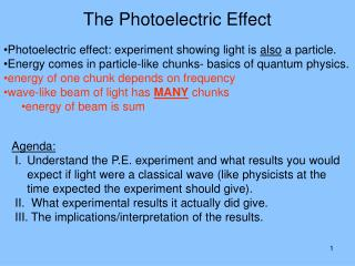 Photoelectric effect: experiment showing light is  also  a particle.