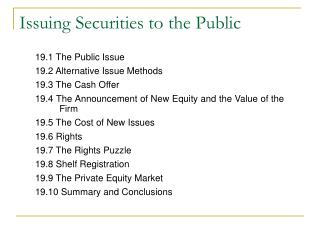 Issuing Securities to the Public