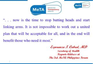 E speranza  I .  C abral,  MD S ecretary of  H ealth Keynote Address at