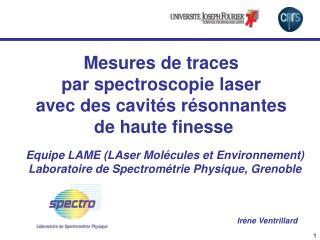Equipe LAME (LAser Molécules et Environnement) Laboratoire de Spectrométrie Physique, Grenoble