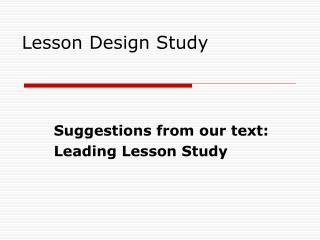 Lesson Design Study