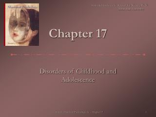 Disorders of Childhood and Adolescence