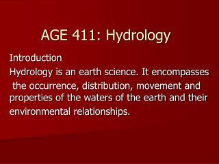 AGE 411: Hydrology