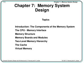 Chapter 7:  Memory System Design