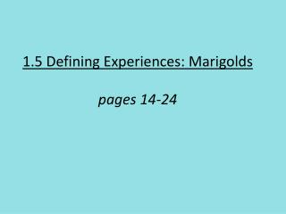 1.5 Defining Experiences: Marigolds pages 14-24