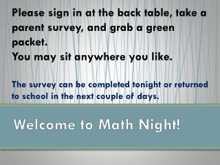 Welcome to  Math Night