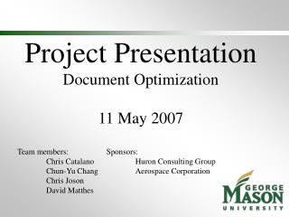 Project Presentation Document Optimization 11 May 2007