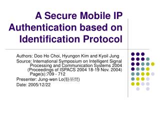 A Secure Mobile IP Authentication based on Identification Protocol