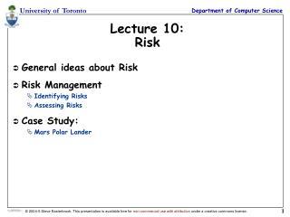 Lecture 10: Risk