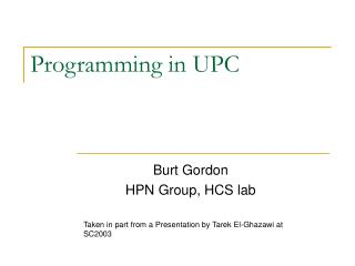 Programming in UPC