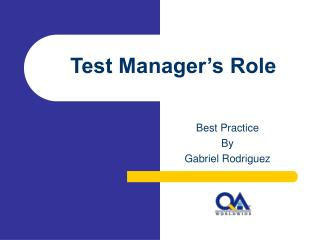 Test Manager�s Role