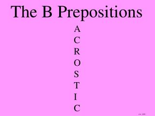 The B Prepositions