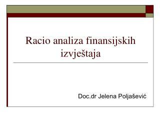 Racio analiza finansijskih izvještaja