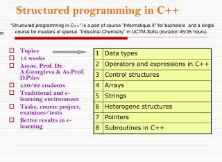 Structured p rogramm i n g in  C++