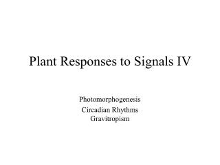 Plant Responses to Signals IV