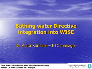 Bathing water Directive integration into WISE