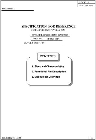 SPECIFICATION  FOR REFERENCE