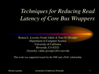 Techniques for Reducing Read Latency of Core Bus Wrappers