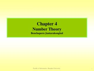 Chapter 4 Number Theory Benchaporn Jantarakongkul
