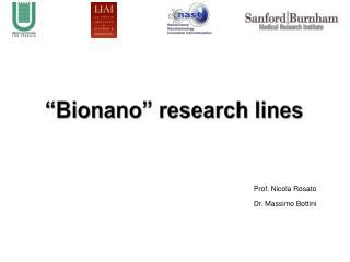 """ Bionano "" research lines"