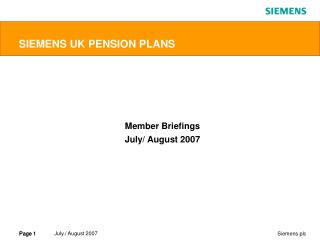SIEMENS UK PENSION PLANS